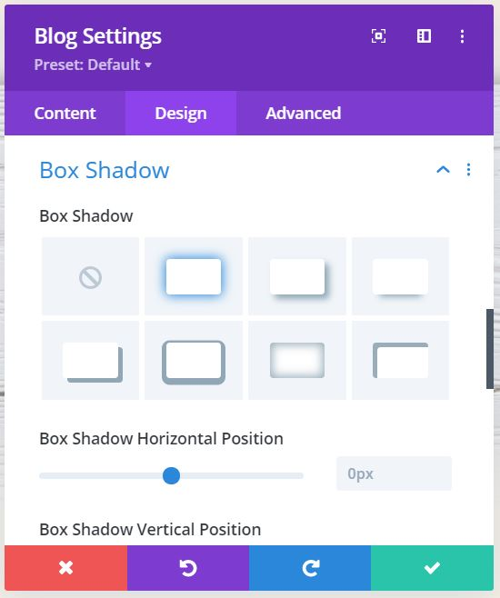 Image: Divi Blog Module Settings