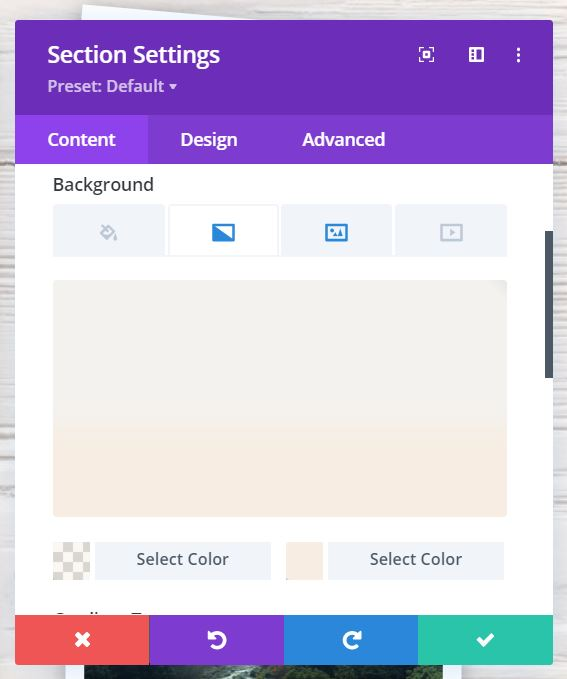 Image: Divi Section Settings