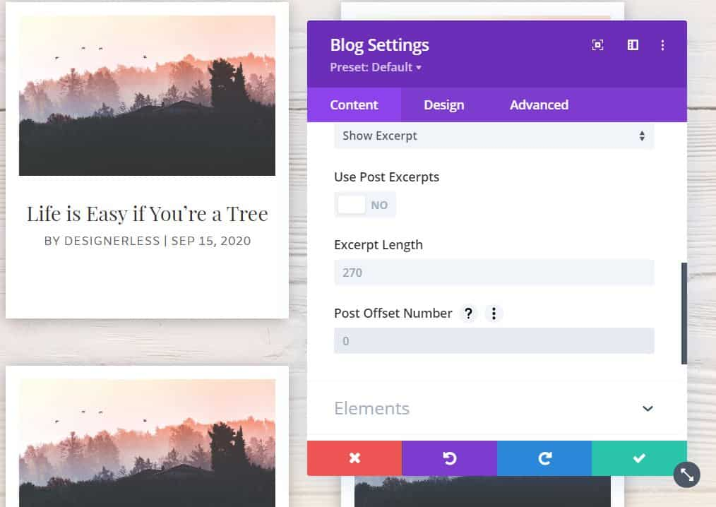 Image: Divi blog settings