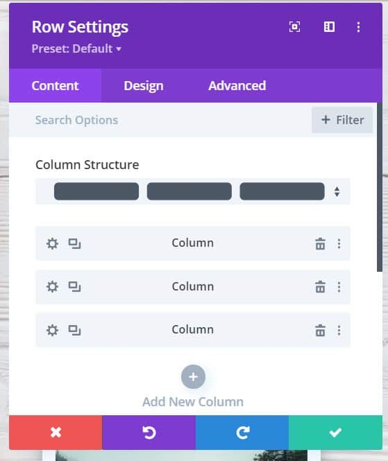 Image: Divi Row Settings